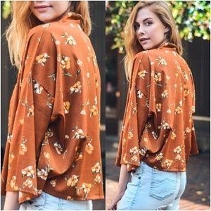 Sweaters - Floral Boho Chic Lightweight Cardi Kimono One Size
